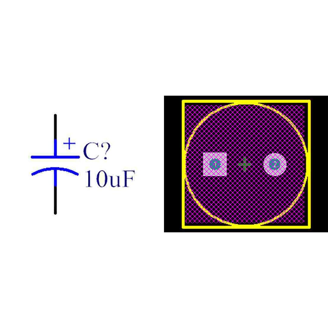 فوت پرینت خازن الکترولیتی 5-10x16