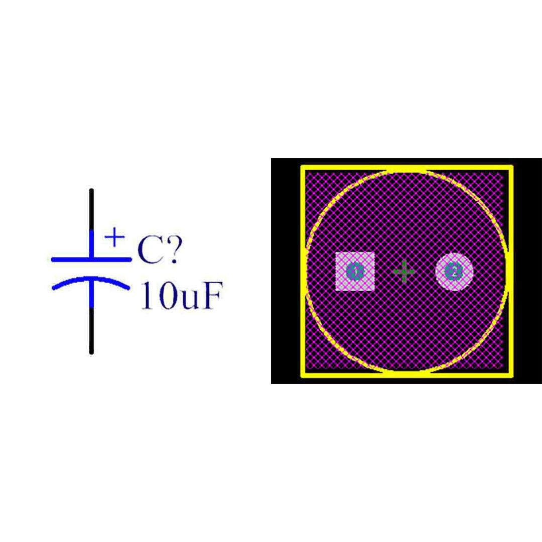 فوت پرینت خازن الکترولیتی 5-10x25