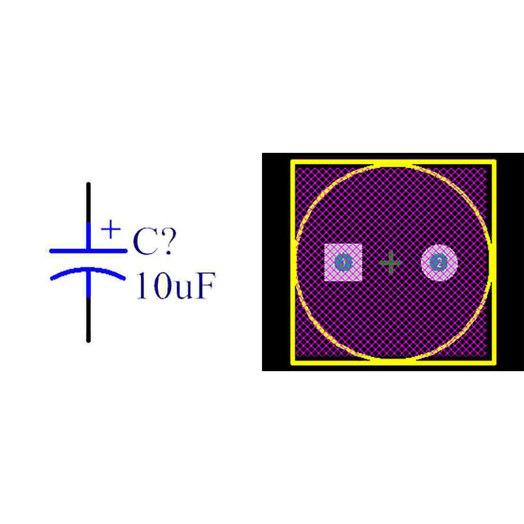 فوت پرینت خازن الکترولیتی 5-10x30
