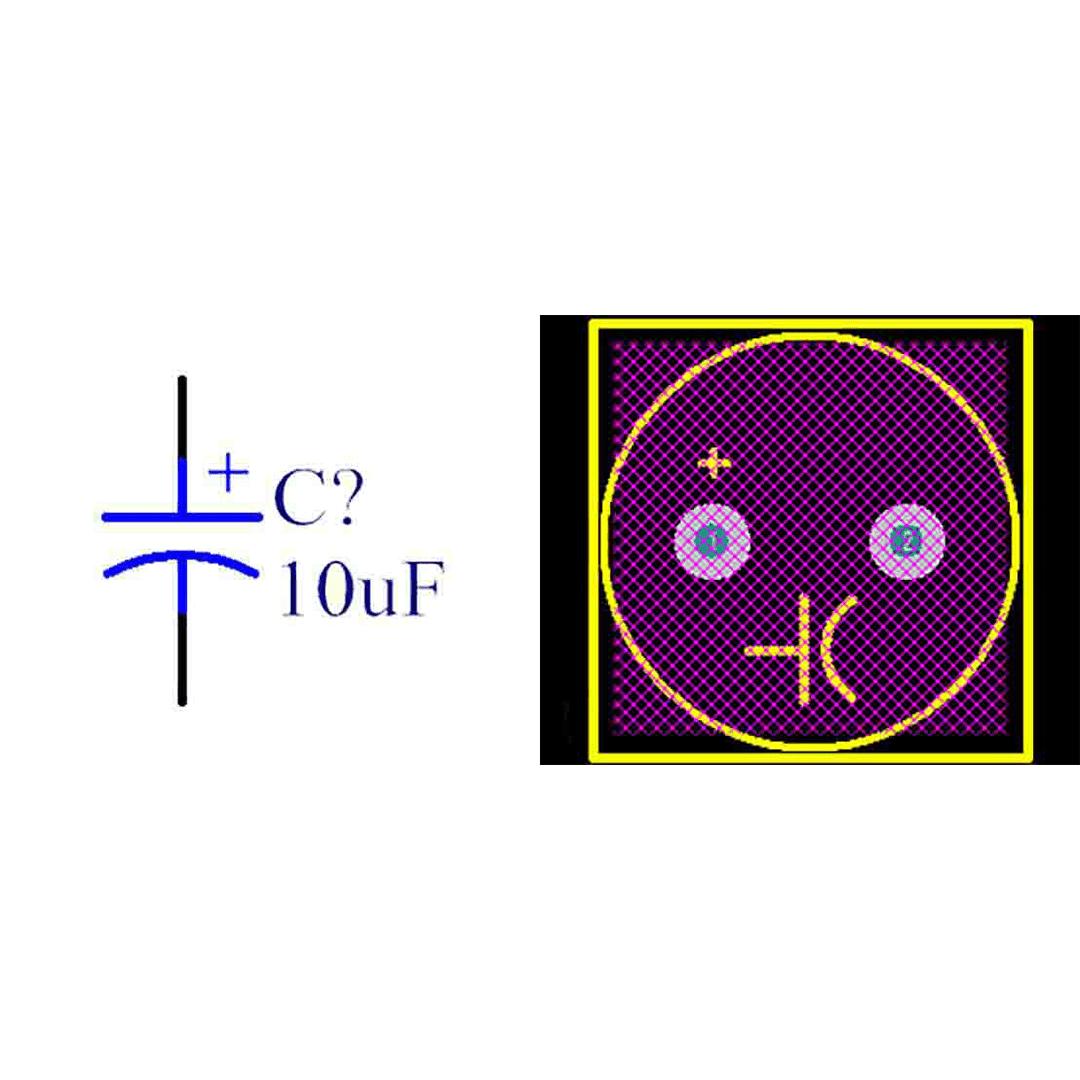 فوت پرینت خازن الکترولیتی 5-12.5x21.5
