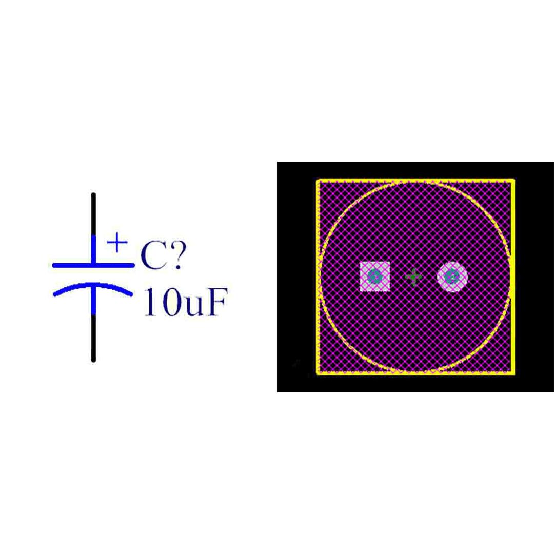 فوت پرینت خازن الکترولیتی 5-12.5x25