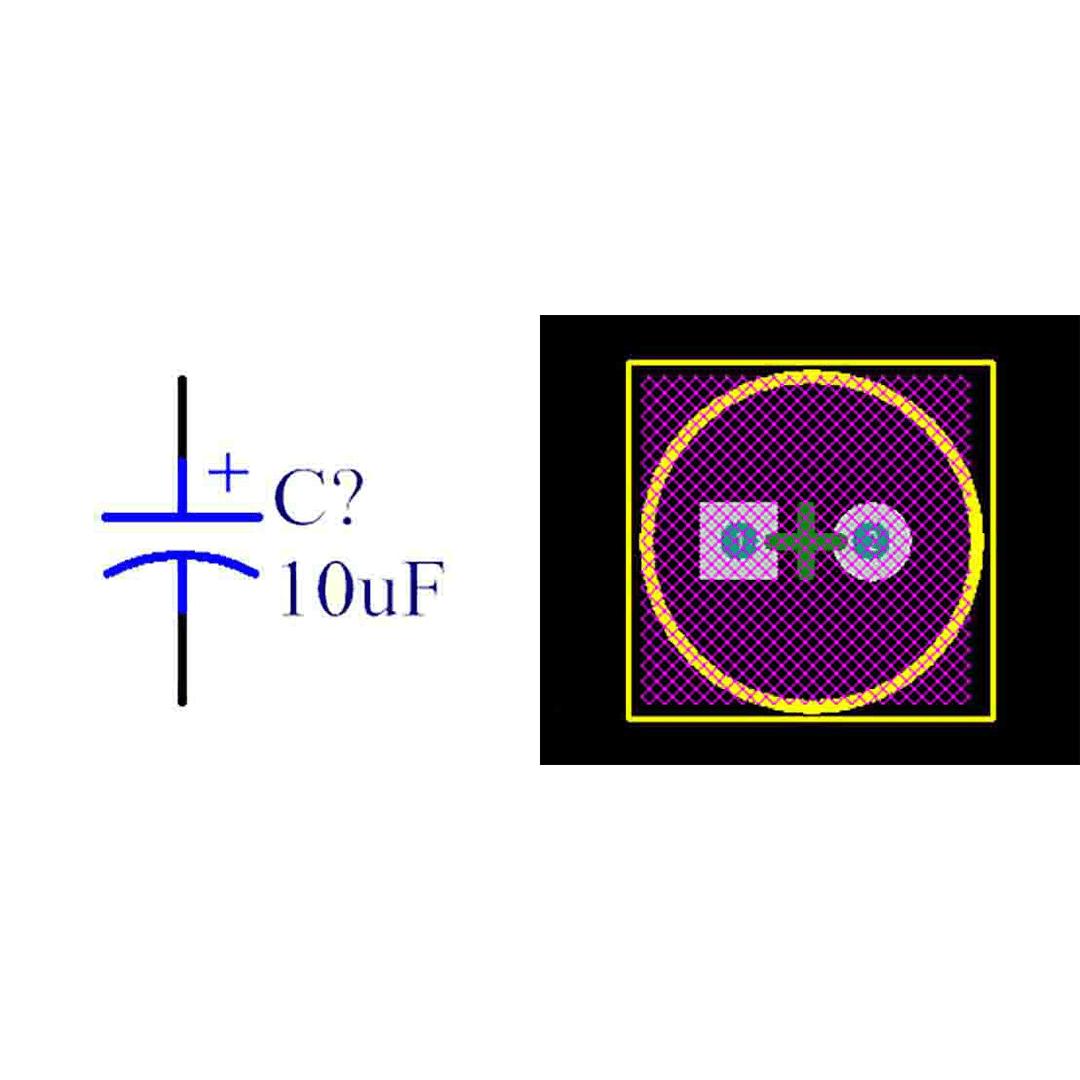 فوت پرینت خازن الکترولیتی 2-5x11