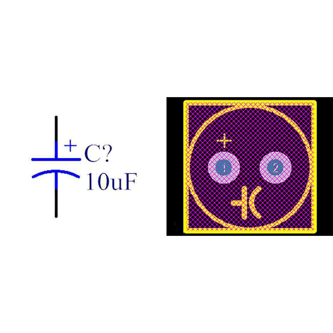 فوت پرینت خازن الکترولیتی 2.5-6.3x12