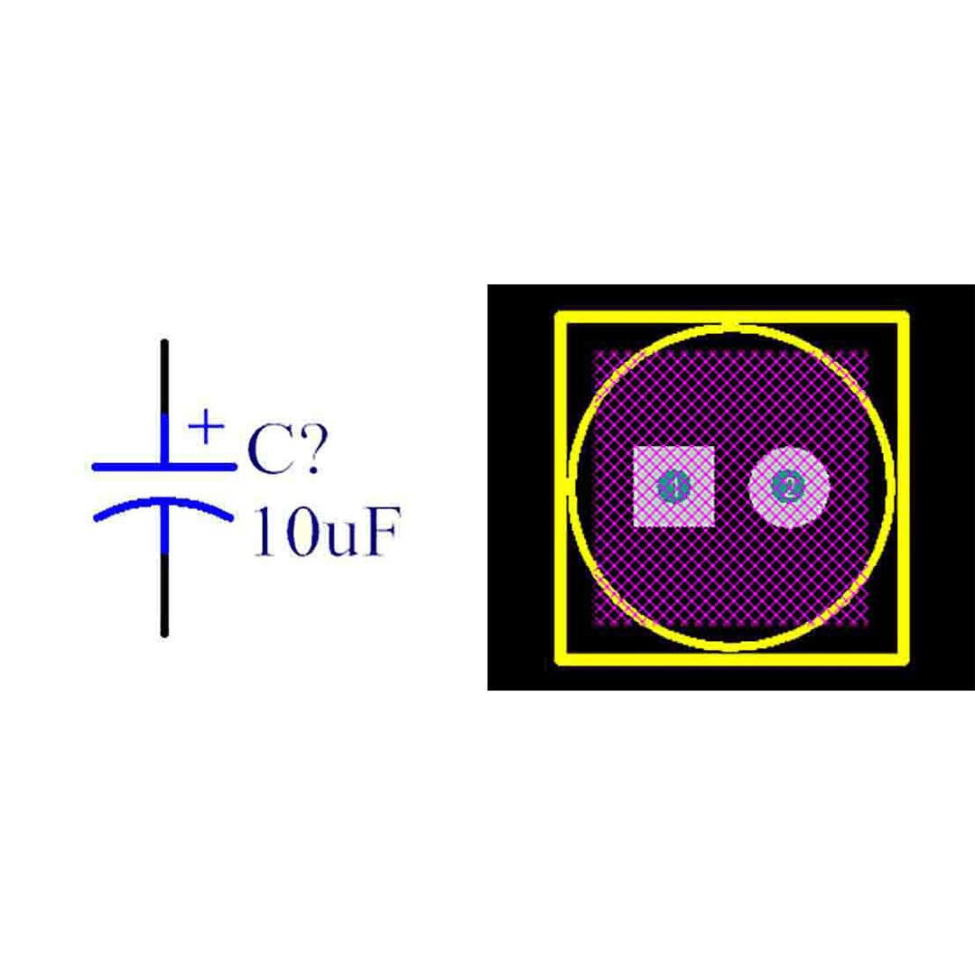 فوت پرینت خازن الکترولیتی 2.5-6x7