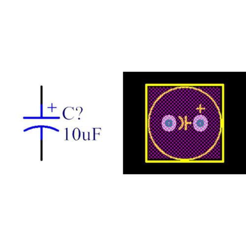 فوت پرینت خازن الکترولیتی 3.5-8x11.5