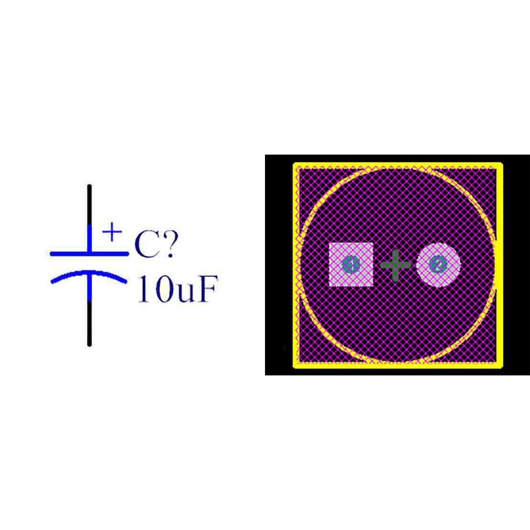 فوت پرینت خازن الکترولیتی 3.5-8x12