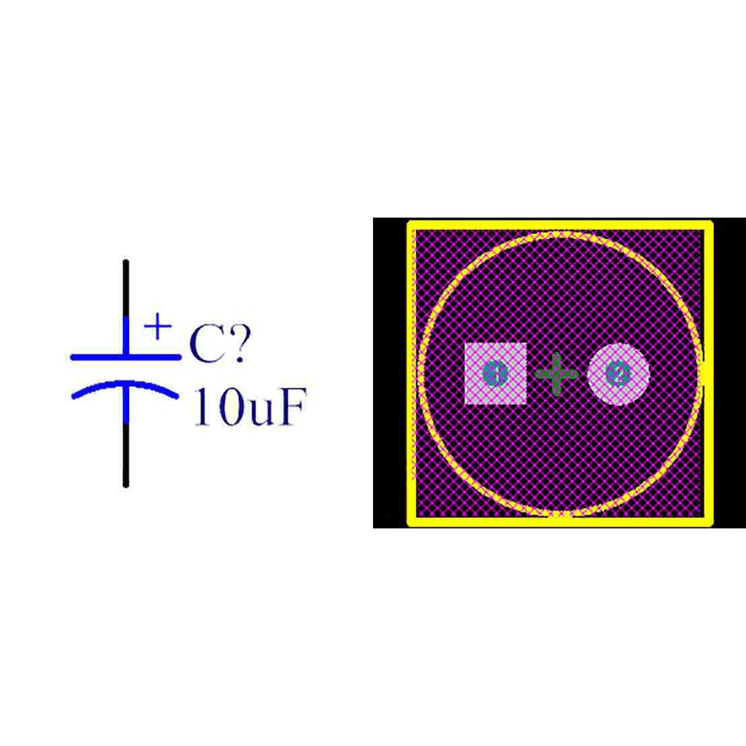 فوت پرینت خازن الکترولیتی 3.5-8x14