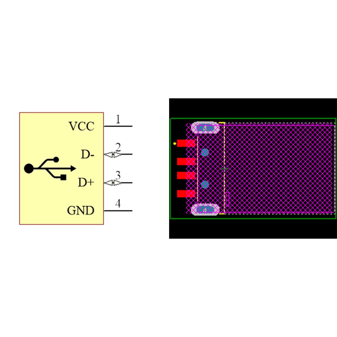 فوت پرینت كانكتور USB-A نری SMD