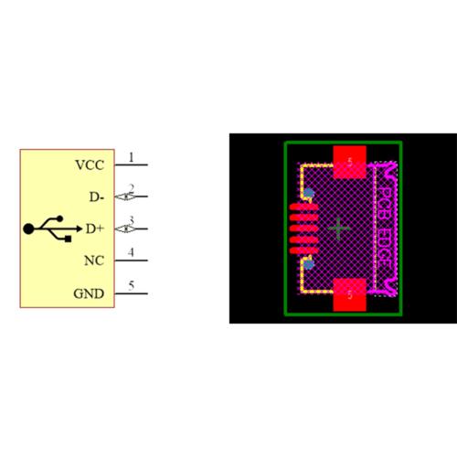 فوت پرینت کانکتور Micro USB مادگی 5pin با دو هولدر سطحی SMD