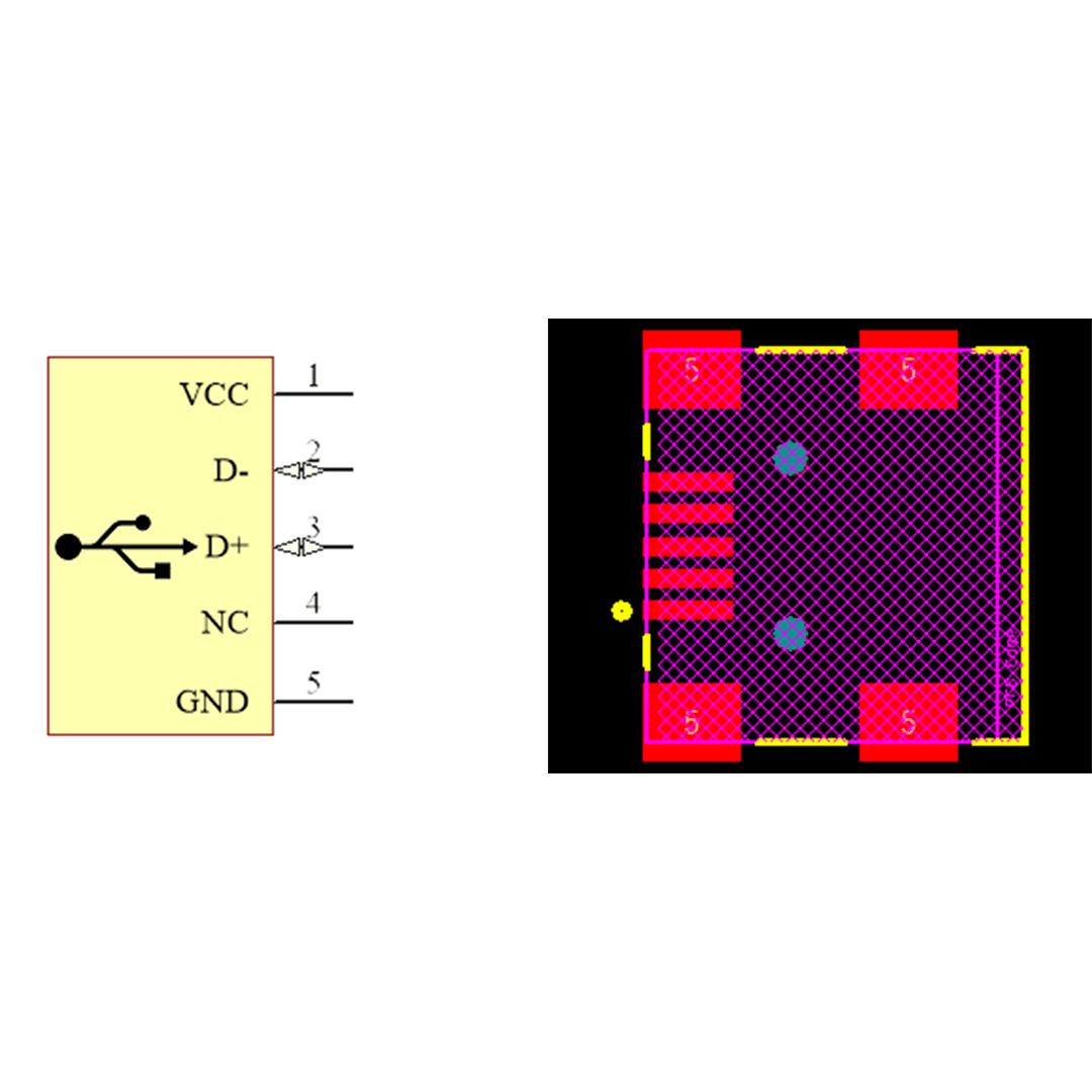 فوت پرینت كانكتور USB-B MINI SMD